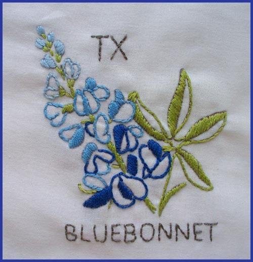 Here is the second block in the series for the State Flower Quilt project. I really loved stitching this and dreaming about fields of blue.