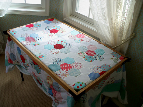 Hcq2d Ready To Start Quilting This Wooden Table Frame